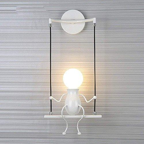 Fengshang Maniquí de moda simple para niños, lámpara de pared moderna, sala de estar, dormitorio, creativa mesita de noche, vacaciones, regalo de boda (blanco-1)
