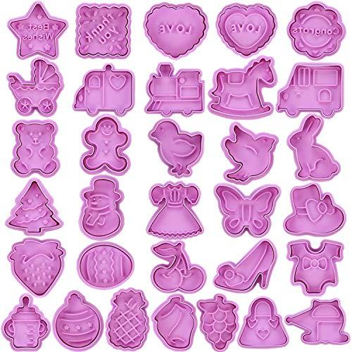 CSYY 32 Stück Ausstechformen Ausstecher Set, Plätzchenformen für Kinder, keksausstecher Set mit Auswerfer perfekt für Oster Keks,Plätzchenformen Küken, Ei Plätzchenausstechform