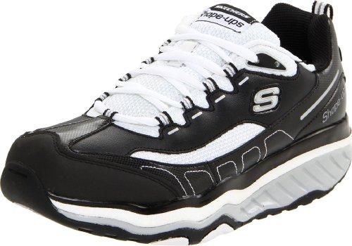 Skechers Women's Shape Ups Evolution Lace-Up Sneaker,Black/White,6 M US