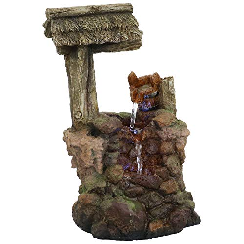 Sunnydaze Mossy Country Well Indoor Tabletop Water Fountain with LED Lights and Submersible Electric Pump - 14-Inch
