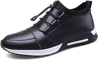 Scarpe Casual da Uomo in Pelle Tinta Unita Antiscivolo Resistenti all'Usura morbide con Lacci per la velocità Sneakers Mod...