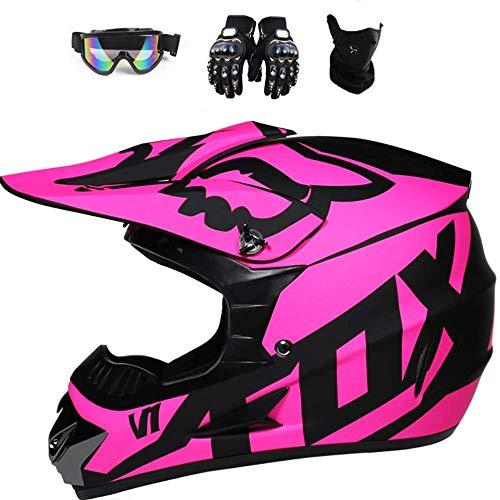ESASAM Casco de motocross, carcasa de ABS, norma de seguridad ECE 22.05, para bicicleta de montaña, ATV, BMX, Downhill Offroad, moto cross con guantes, máscara (rosa, M)