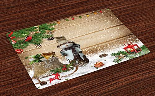 ABAKUHAUS Kerstmis- Placemat Set van 4, Sneeuwman in de tuin, Wasbare Stoffen Placemat voor Eettafel, Veelkleurig