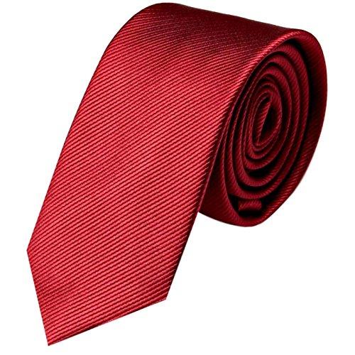 GASSANI Cravatta uomo stretta   eleganti stretti Cravatte monocolore 8cm a righe   con strisce fini   Rosso Vino Bordeaux