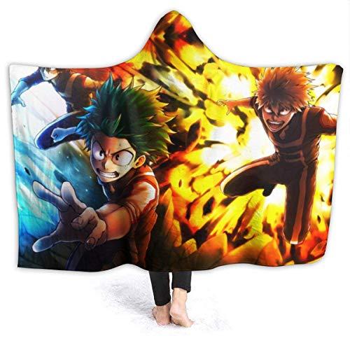 My-Hero-Acade-mia Manta suave para niños y adultos, manta cálida con capucha de felpa, para cama, sofá, viajes, aire acondicionado, colchas de 80 x 60 pulgadas