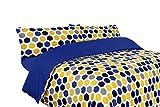 Montse Interiors, S.L. Funda nórdica Estampada geométrica Azul, Amarilla y Gris (sin Bajera) (Bob, para Cama de 150x190/200 (Nórdico de 240))