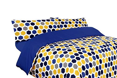 Montse Interiors, S.L. Funda nórdica Estampada geométrica Azul, Amarilla y Gris (sin Bajera) (Bob, para Cama de 90x190/200 (Nórdico de 150))