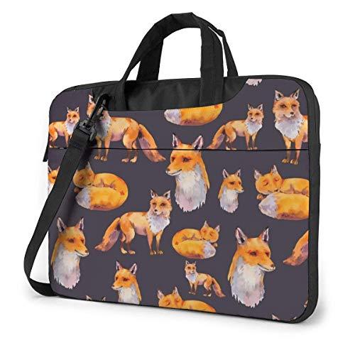 15.6 inch Laptop Shoulder Briefcase Messenger Orange Red Foxes Tablet Bussiness Carrying Handbag Case Sleeve