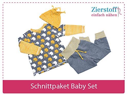 3 Papierschnittmuster zum Nähen von Babykleidung - Das Baby Set beinhaltet eine Pumphose, Mütze und EIN Shirt für Babys und Kleinkinder von Gr. 50-74