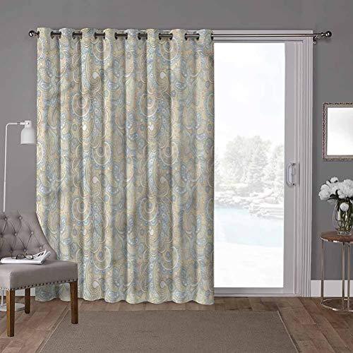 YUAZHOQI Cortina aislante térmica para oscurecimiento de habitación, Paisley, diseño de flores de Batik, 100 x 200 cm (1 panel)