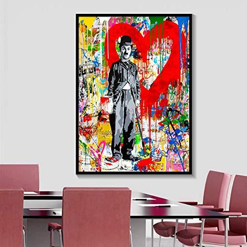 tzxdbh Moderne Abstrakte Figur Leinwand Charlie Chaplin Pop-Art Wand Kunstdruck Poster Bild Malerei Von Wohnzimmer Und Wohnkultur50X100