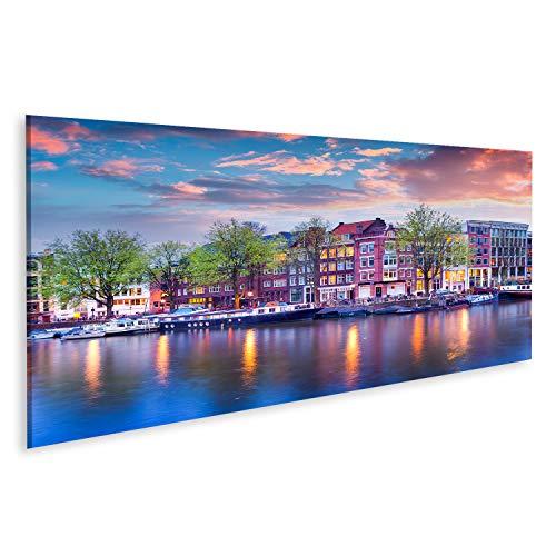 Quadro Moderno Coloratissimo Tramonto Primaverile sui canali di Amsterdam. Autentica architettura Olandese nella Capitale e nella Città più popolosa dei Paesi Bassi. Quadri Stampa su Tela mo