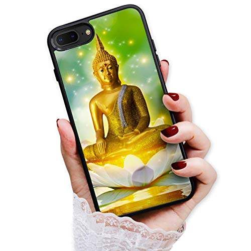 for iPhone 8 Plus, iPhone 7 Plus, Durable Protective Soft Back Case Phone Cover, HOT13082 Gold Lotus Buddha 13082