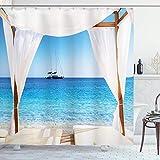 Cortina de ducha balinesa,playa a través de la cama balinesa,sol de verano,cielo despejado,luna de miel,imagen de spa natural,tela de tela,color aguamarina con 12 ganchos de plástico de 180 x 210 cm