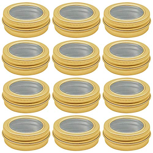 Hulless 2 oz Aluminum Tin Jar 60 ml Refillable Containers Clear Top Screw Lid Round Tin Container Bottle for Cosmetic ,Lip Balm, Cream, 12 Pcs Gold Color.
