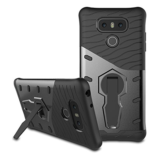 LG G6 Case, Remex Heavy Duty Shockproof Dual Layer Hybrid Armor Defender Full Body Protective Cover with 360 Degree Rotating Kickstand for LG G6 (Black)