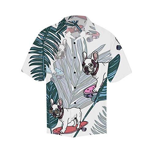 InterestPrint Men's Regular-Fit Unique Design Short-Sleeve Hawaiian Shirt French Bulldog on Skateboard and Tropical Leaves M
