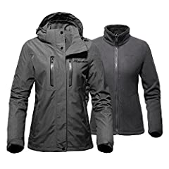 VERSATILE 3-IN-1 SKI JACKET FOR WOMEN - 3-in-1 ski jacket set for all weather conditions. Both the hooded waterproof shell & the inner fleece jacket can be worn on their own or together. WATERPROOF & BREATHABLE HOODED SHELL - External hooded soft she...