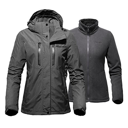 OutdoorMaster Women's 3-in-1 Ski Jacket - Winter Jacket Set with Fleece Liner Jacket & Hooded Waterproof Shell - for Women (Graphite,L)