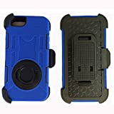Iphone6 Case, Yyue Ultra Shock&drop-proof Amy-grade Protective Hard Defender Case and Three Layer Hard Shell Cover Holster with 360 Degree Rotating Ring Bracket Protective Case for Apple Iphone 6(4.7inch) Case with Stand & Clip for Apple Iphone 6(4.7inch) (Blue+black)