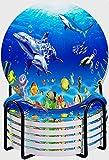 CIKYOWAY Posavasos para Bebidas,Pescado mar Azul océano Escena submarina Delfines y Plantas Dibujos Animados Marino Medusas Arrecife de Coral y Peces Tropicales Tortuga Juego de 6 Posavasos para casa
