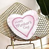 JOCHUAN Almohadas Decorativas para Mujer Feliz día de la Madre Ilustración Vectorial Almohada Decorativa para niños 13.78 X 13.78 Pulgadas Cojín en Forma de corazón Regalo para Amigos/niños/niña