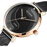 Women's Watch Waterproof, Mini Focus Stainless Steel Case and Mesh Strap Quartz Watch for Women Fashin Wristwatch (Black)