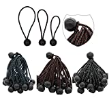Ball Bungee Cords,Quality 90 Pack of 3 Size Tarp, Heavy Duty Black UV Treated Stretch Tie Loops with Plastic Toggle,Banner &Canopy Fasteners,Color Coded Cord to Indicate Size,(90 Pack)