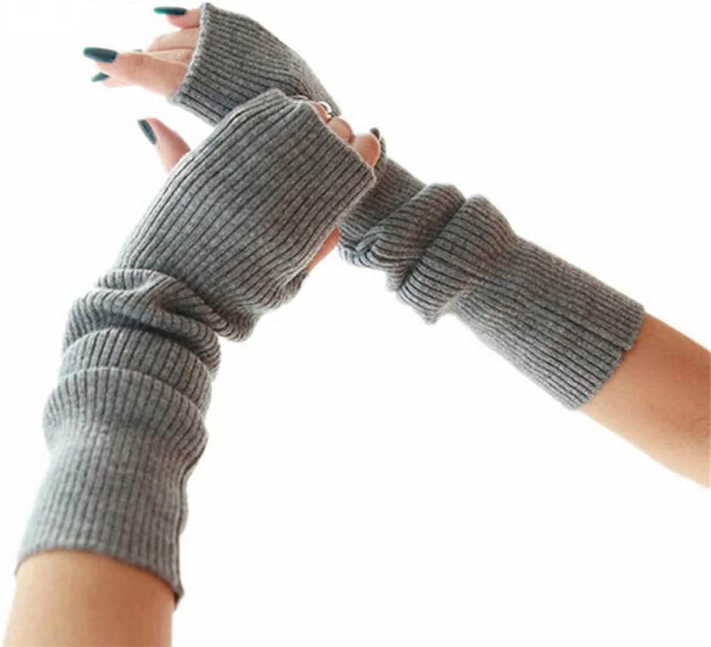 WBDL Women's Winter Autumn Cashmere Blend Knitted Long Gloves Solid Color Fashion Warm for Lady Elbow Mittens (Color : Light Gray, Size : 50cm)