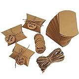 CENRONG Cajas de Regalo Pequeñas,100 Pcs Caja de Dulces de Papel Kraft Caja de Almohada Caja de Regalo con Cuerda de Yute,para Boda Cumpleaños Fiesta de Navidad