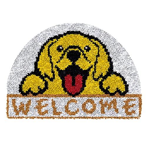 XUJINGJIE Kits De Ganchos De Pestillo para Adultos Niños Patrón De Perro DIY Kit De Fabricación De Alfombras Juego De Costura De Ganchillo De Cojín De Alfombra, Perro, 52X35cm