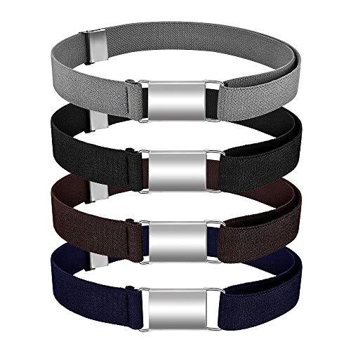 LYTIVAGEN 4 PCS Cinturón Elástico con Hebilla Magnética Cinturón de Hebilla Ajustable Cinturón Táctico para Niños en Ocasiones Formales y Uso Diario (4 Colores, 40-75cm)