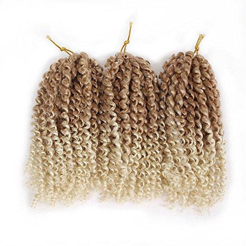 3 paquetes (total 9 mechones) Eunice Hair Marlybob Kinky Curl extensiones de pelo rizadas de 20,32 cm (8 pulgadas, 27 mezclas 613)