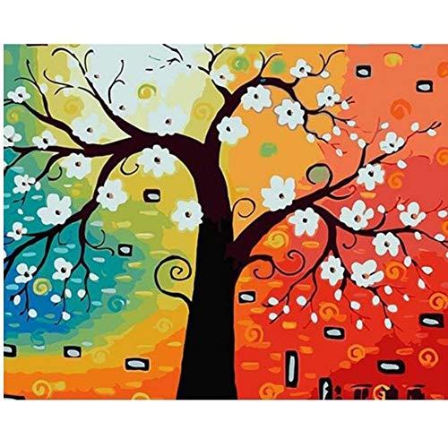 Vanzelu sans Cadre Riche Arbre Peinture Abstraite Acrylique Image DIY Peinture À l'huile Numérique par Numéros Kits Dessin sur Toile pour La Décoration Intérieure 16 * 20〃(40x50cm)