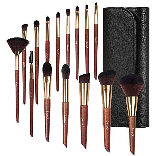 Make-up Pinsel, LEUNG 15 Stück Make-up Pinsel Set, Premium Synthetic Foundation Puder Concealer Lidschatten Rouge Make-up Pinsel mit mit glänzendem schwarzen Beutel