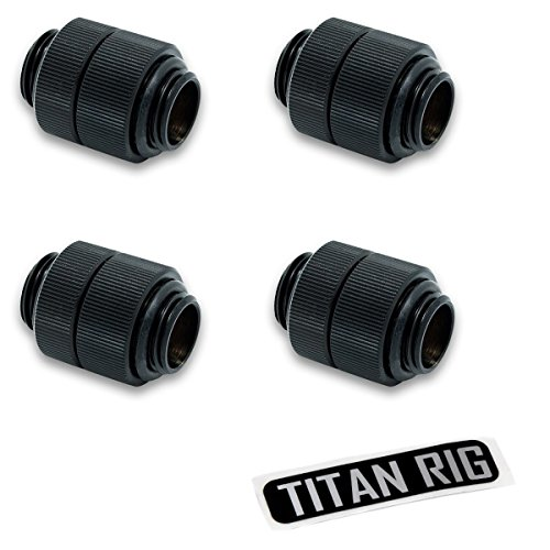 "EKWB EK-AF G1/4"" Rotary Male to Male Extender Fitting, Black, 4-Pack"