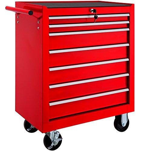 TecTake Werkzeugwagen Werkstattwagen | 7 verschließbare Schubfächer | Kugelgelagerte Gleitschienen | auf Rollen | -diverse Modelle- (Rot | Nr. 402799)
