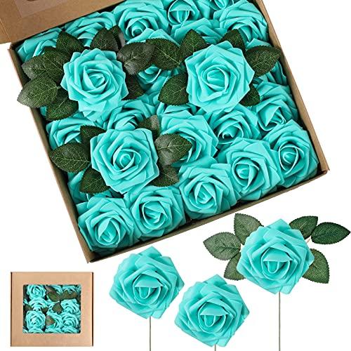 25 Flores de Rosa de Espuma Artificiales Rosas Falsas Vintage Bricolaje Ramos Flor en Ojal con Hojas y Tallos para Decoración de Bodas Despedidas de Soltera Centros de Mesa (Turquesa)