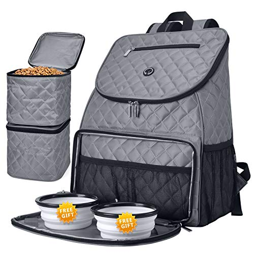 BAGLHER 丨Dog Travel BagAirline Approved Pet Supplies BackpackDog Travel Backpack with 2 Silicone Collapsible Bowls and 2 Food Baskets Gray