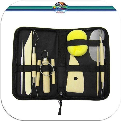 Modellierwerkzeug Töpferwerkzeug Set 11tlg. in schwarzer Transporttasche zum Töpfern, Modellieren u.v.m
