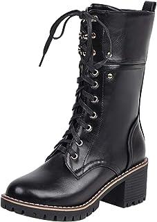 TAOFFEN Women Round Toe Combat Boots Autumn Chunky Heels Zipper
