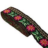 7 yardas 2 5/8 pulgadas margaritas hojas en ondas Jacquard cinta floral bordado tejido recortar para adornos Craft Suministros