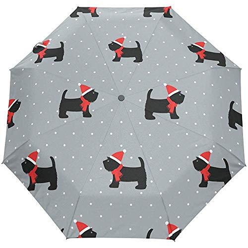 Leuke hondenpuppen-dierkarikatuur-winter-pop-grijze auto-open paraplu-paraplu-paraplu anti-uv, de automatische paraplu vouwt