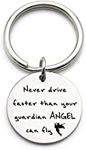 XGAKWD Never Drive Faster Than Your Guardian Angel Can Fly Keychain, Sweet 16 Gifts, Gift Ideas for New Driver, Son, Daughter