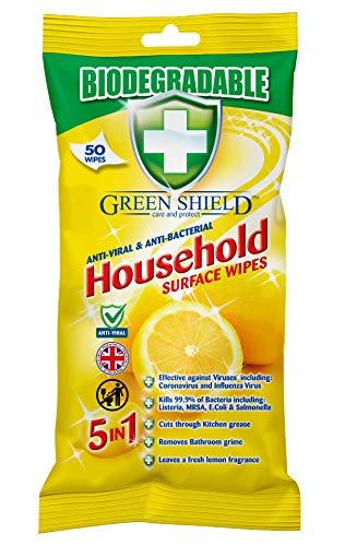 Greenshield Toallitas Desinfectantes para Manos y Superficies, Elimina El 99,9% de Bacterias y Virus, Antivirales, Amarillo, 50 Unidades