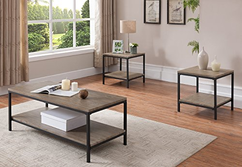 Kings Brand Furniture - 3 Piece Gray Finish Wood/Black Metal Frame Occasional Table Set, Coffee Table & 2 End Table