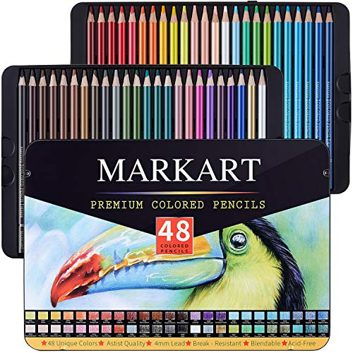MARKART 48 Premium Colored Pencils Set Ideal for Drawing Art Coloring Books Sketching Shading Artist Soft Series Lead Cores Vibrant Artist Pencils for Beginners amp Pro Artists in Tin Box