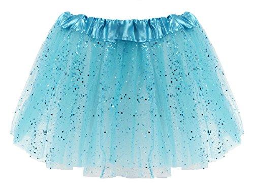 Alsino Alsino Tüllrock Mini Tütü Rock Minirock 50er 60er Jahre Ballettrock Tutu Tüllröckchen elastischer Bund, Variante wählen:LG0271 blau Glitzer