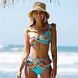 Floral Mujer Bandeau Traje De Baño Tanga Cintura Alta Halter Sólido Micro Bikini Conjunto Volantes Traje De Baño Sexy Traje De Baño Trajes De Baño para La Playa De Verano,6,M