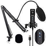 Microfono a Condensatore, Microfono a USB Kit 192kHZ/24bit Microfono di Registrazione con ...